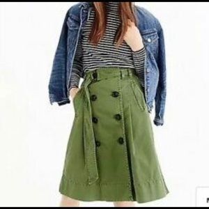 New J CREW Green CHINO TRENCH SKIRT